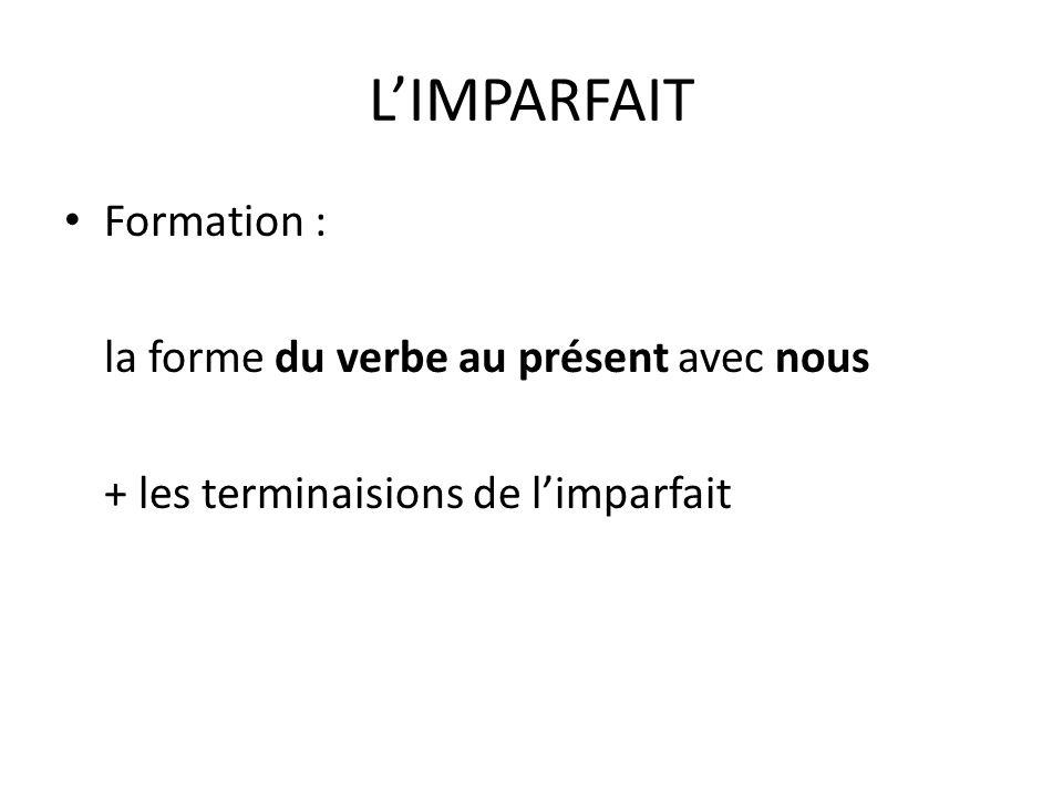 L'IMPARFAIT Formation : la forme du verbe au présent avec nous