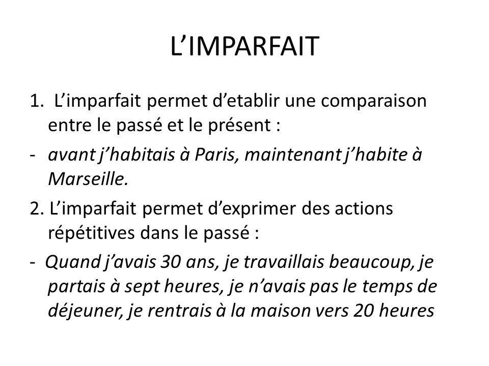 L'IMPARFAIT 1. L'imparfait permet d'etablir une comparaison entre le passé et le présent :