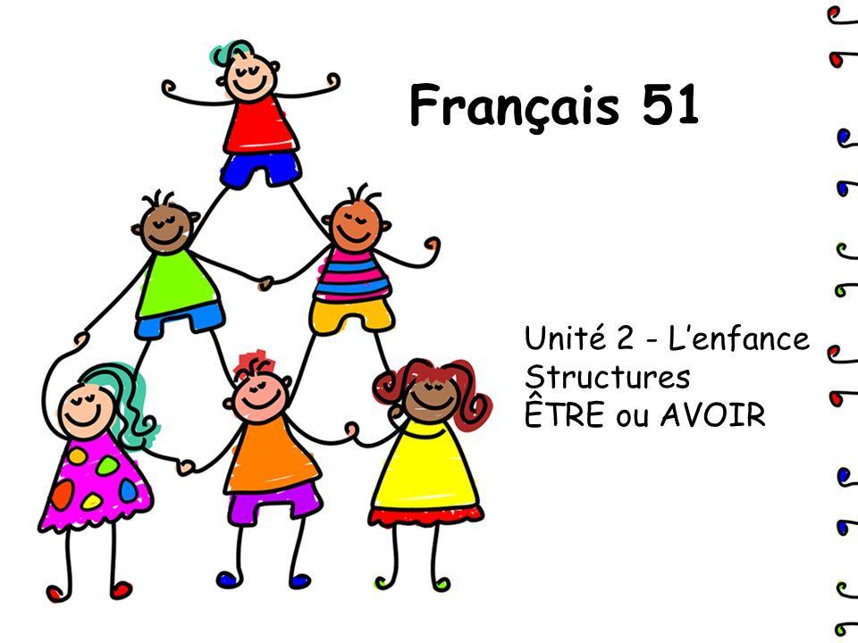 Unité 2 - L'enfance Structures ÊTRE ou AVOIR