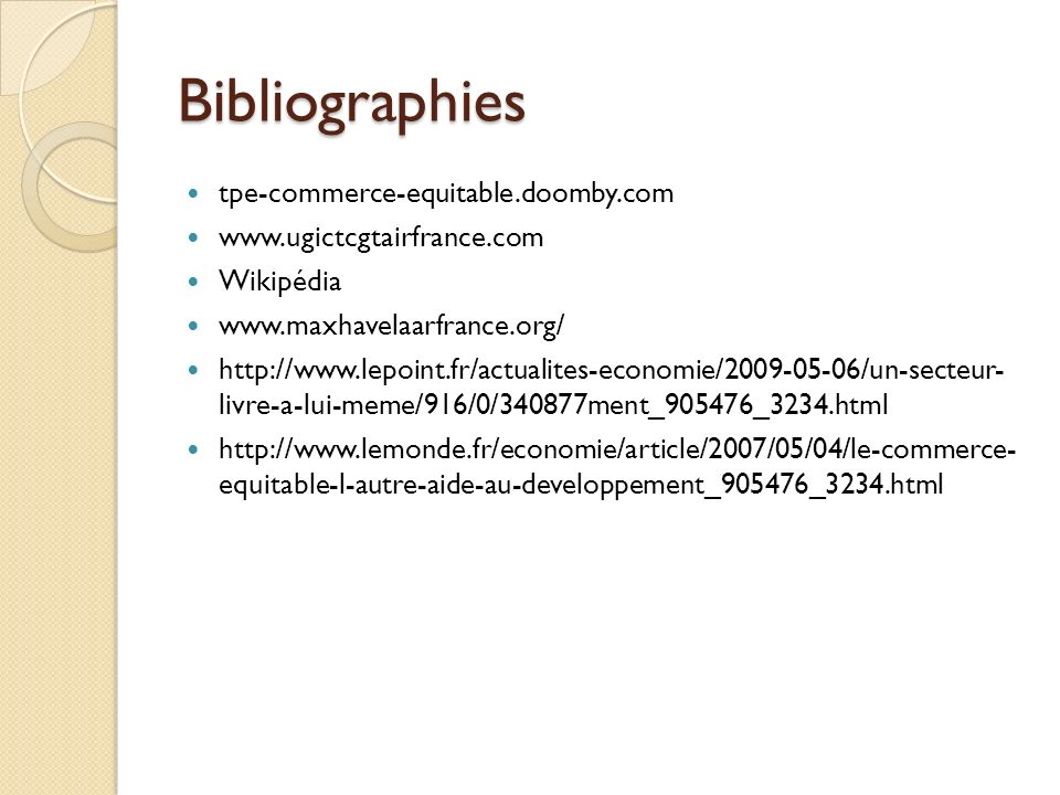Bibliographies tpe-commerce-equitable.doomby.com