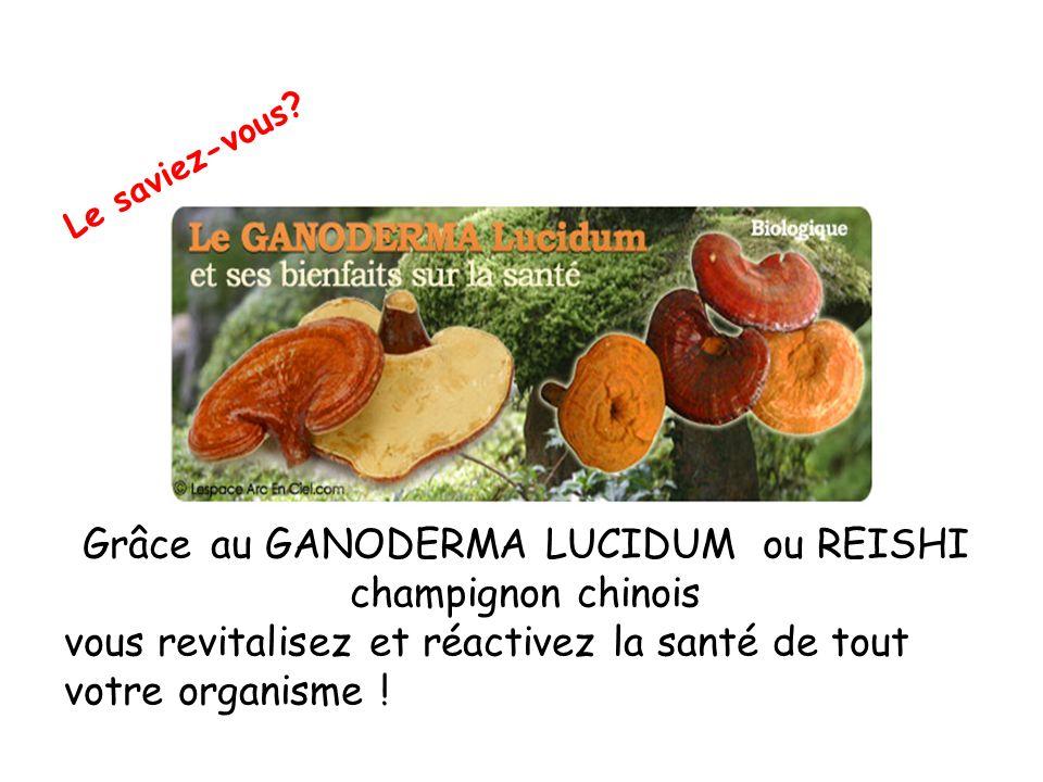 Grâce au GANODERMA LUCIDUM ou REISHI champignon chinois