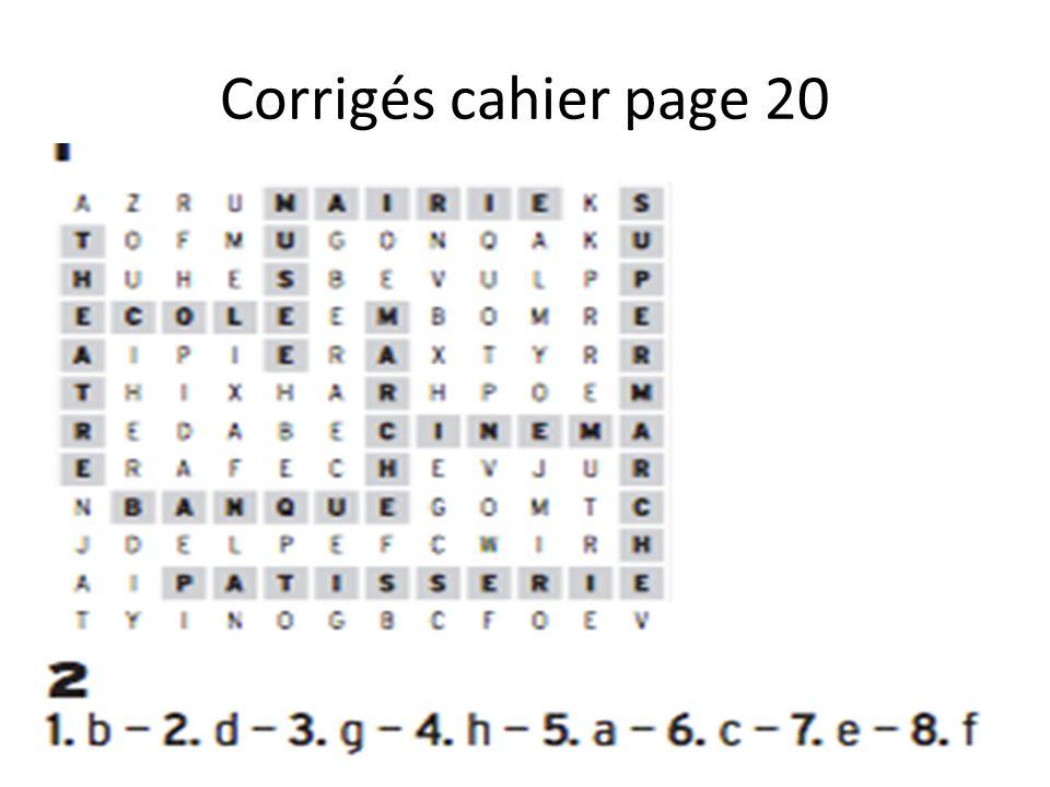 Corrigés cahier page 20