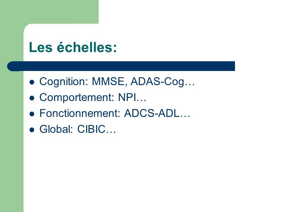 Les échelles: Cognition: MMSE, ADAS-Cog… Comportement: NPI…