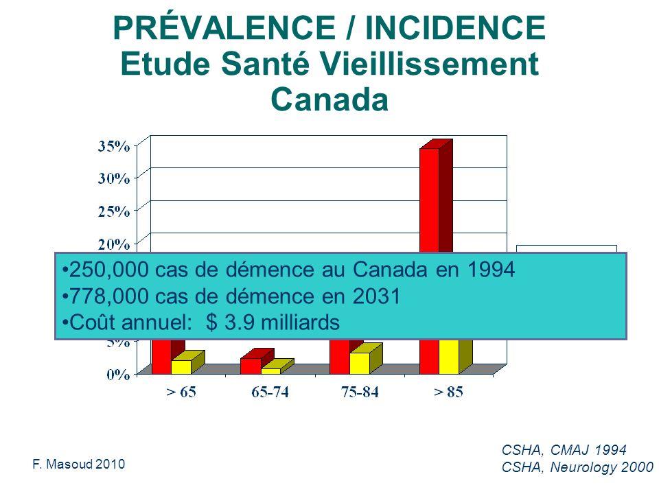 PRÉVALENCE / INCIDENCE Etude Santé Vieillissement Canada