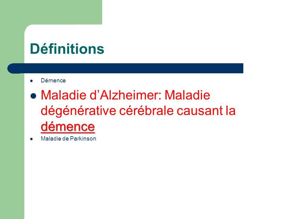 Définitions Démence. Maladie d'Alzheimer: Maladie dégénérative cérébrale causant la démence.