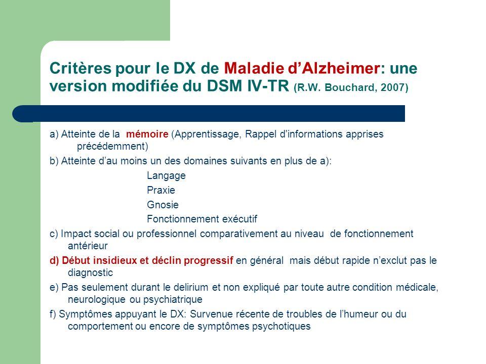 Critères pour le DX de Maladie d'Alzheimer: une version modifiée du DSM IV-TR (R.W. Bouchard, 2007)