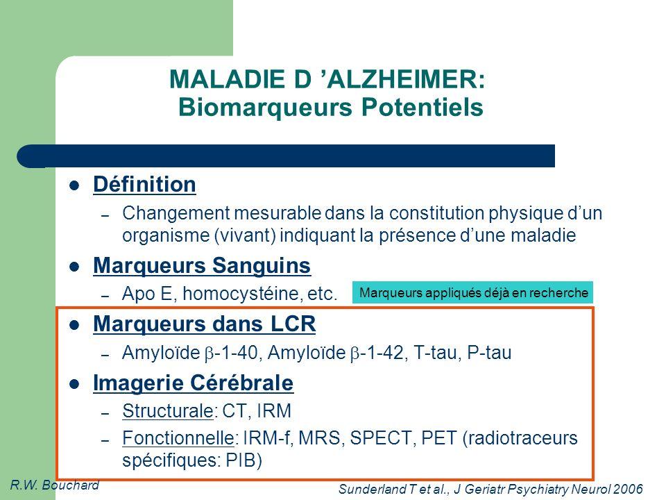 MALADIE D 'ALZHEIMER: Biomarqueurs Potentiels