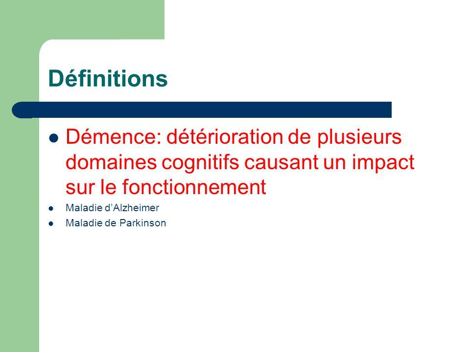 Définitions Démence: détérioration de plusieurs domaines cognitifs causant un impact sur le fonctionnement.
