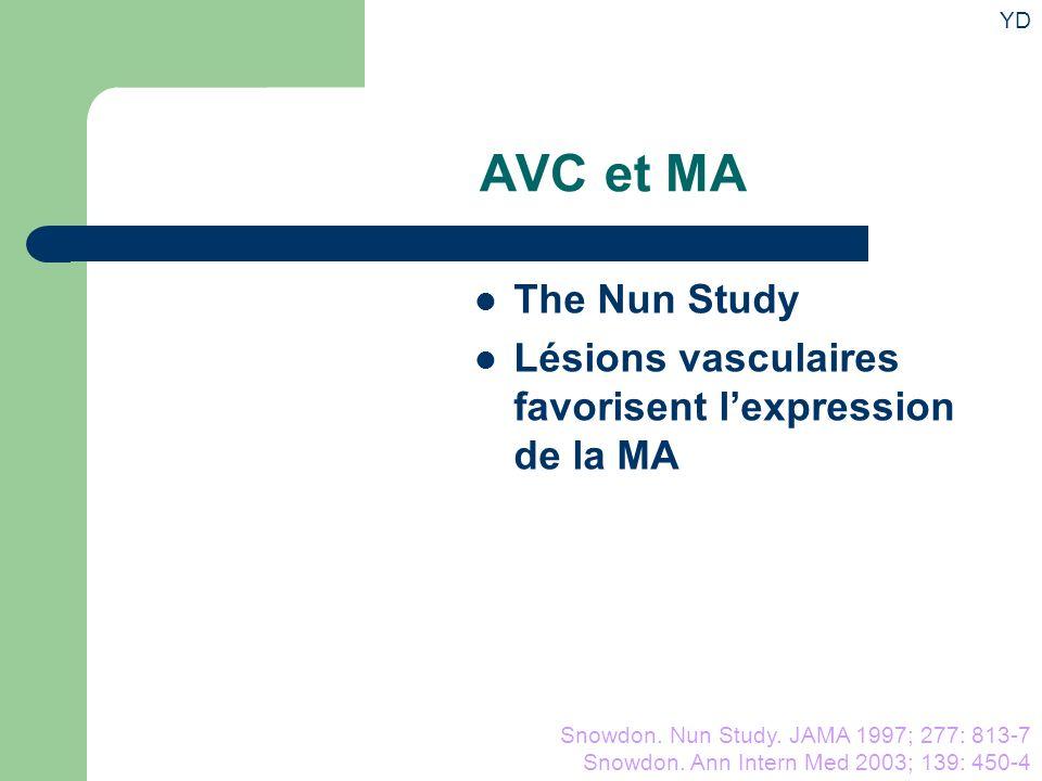 YD AVC et MA. The Nun Study. Lésions vasculaires favorisent l'expression de la MA. Vers la prévention.