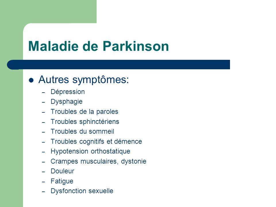 Maladie de Parkinson Autres symptômes: Dépression Dysphagie