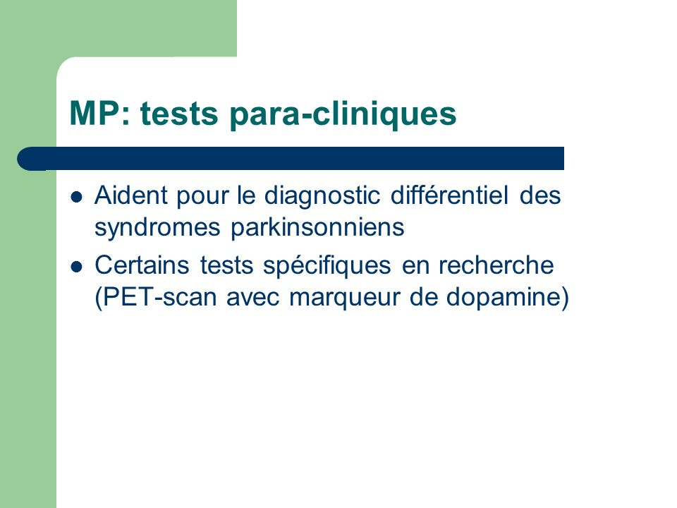 MP: tests para-cliniques