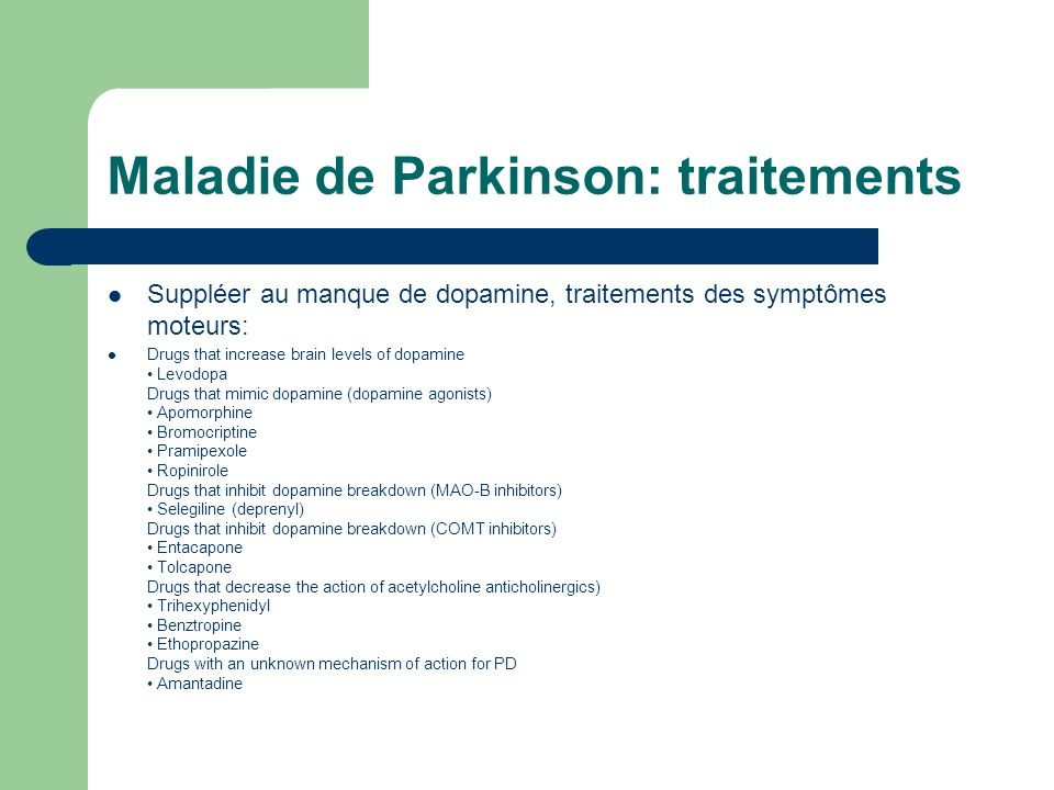 Maladie de Parkinson: traitements
