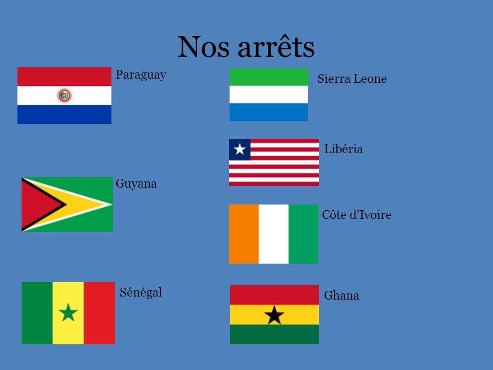 Nos arrêts Paraguay Sierra Leone Libéria Guyana Côte d'Ivoire Sénégal