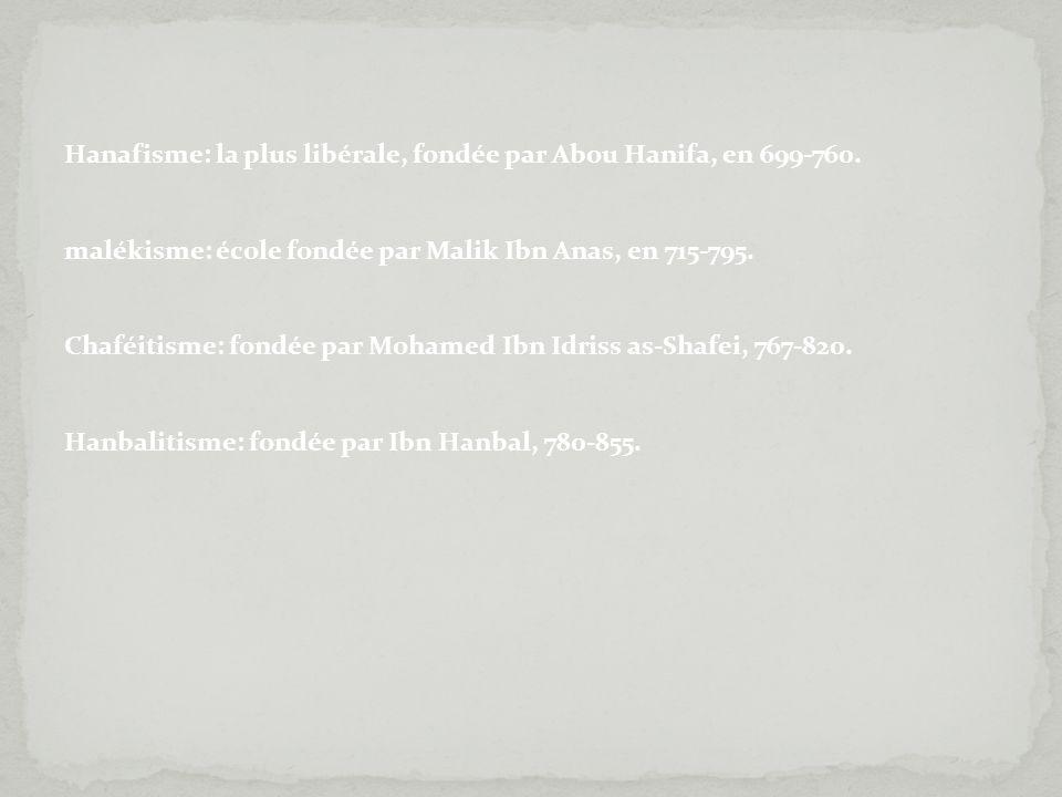 Hanafisme: la plus libérale, fondée par Abou Hanifa, en 699-760.