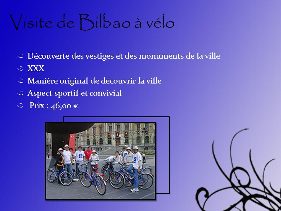 Visite de Bilbao à vélo Découverte des vestiges et des monuments de la ville. XXX. Manière original de découvrir la ville.