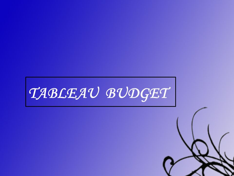 Tableau Budget centrer