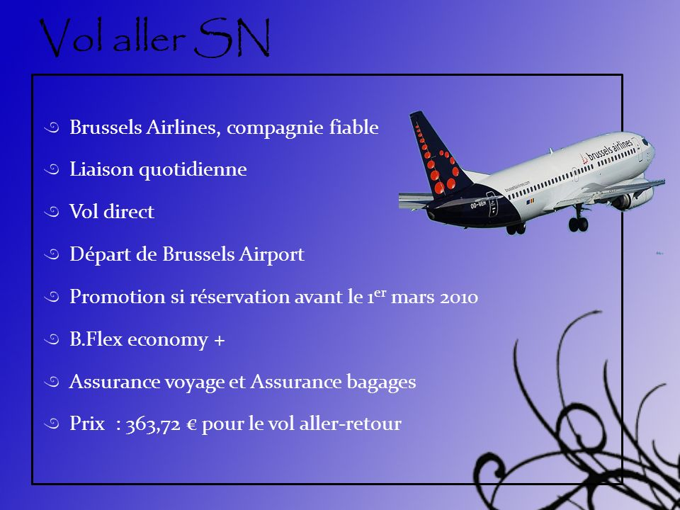 Vol aller SN Brussels Airlines, compagnie fiable Liaison quotidienne
