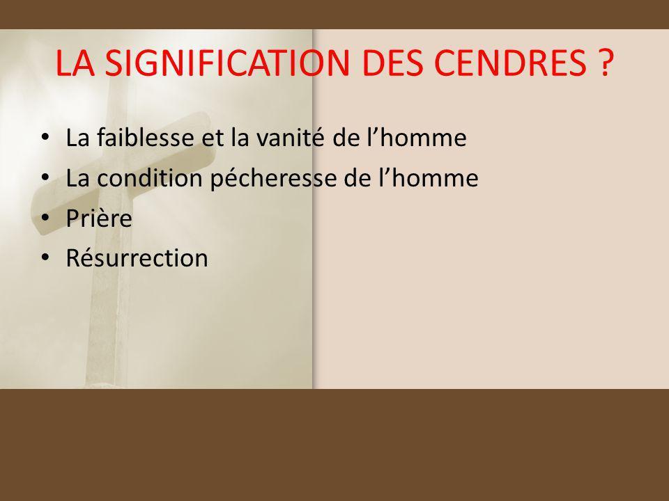 LA SIGNIFICATION DES CENDRES