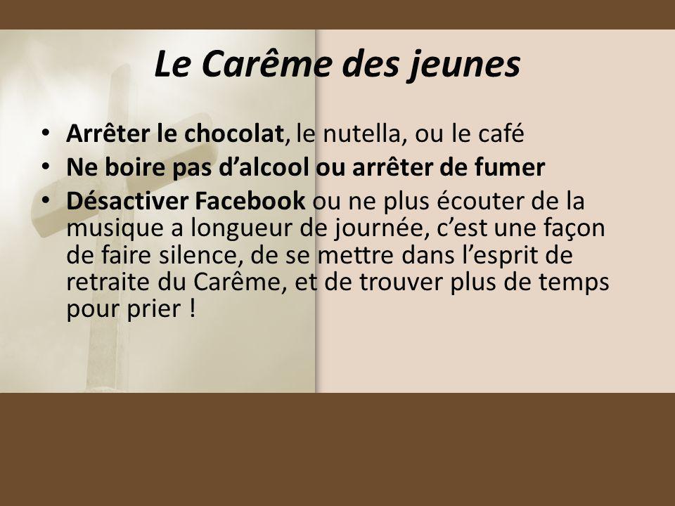 Le Carême des jeunes Arrêter le chocolat, le nutella, ou le café