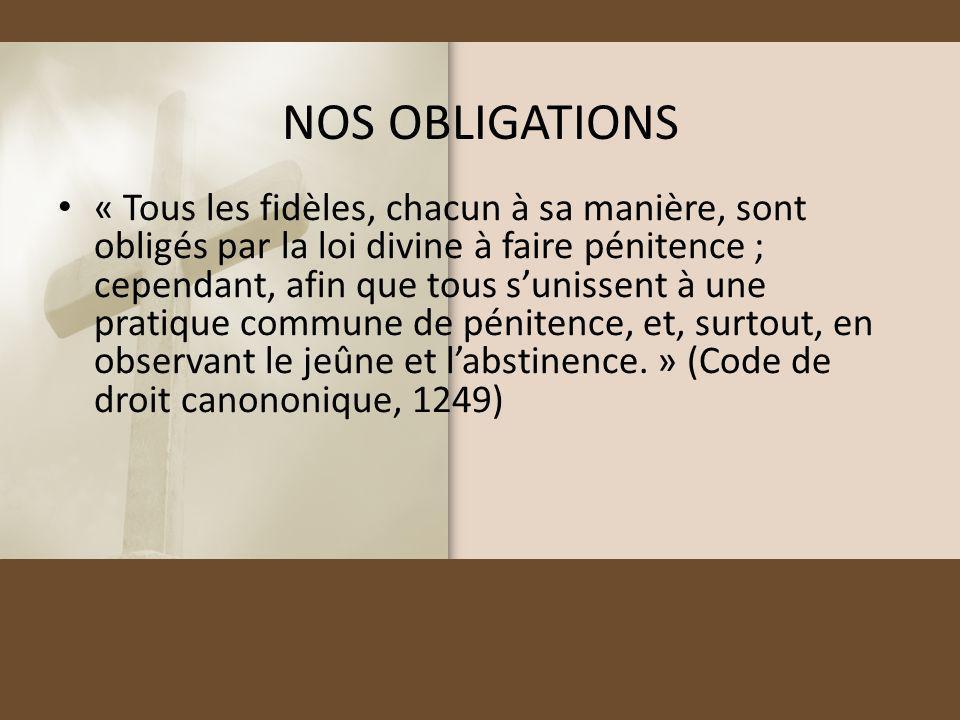 NOS OBLIGATIONS