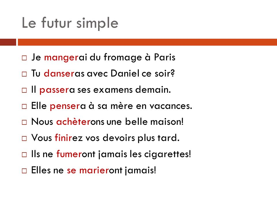 Le futur simple Je mangerai du fromage à Paris