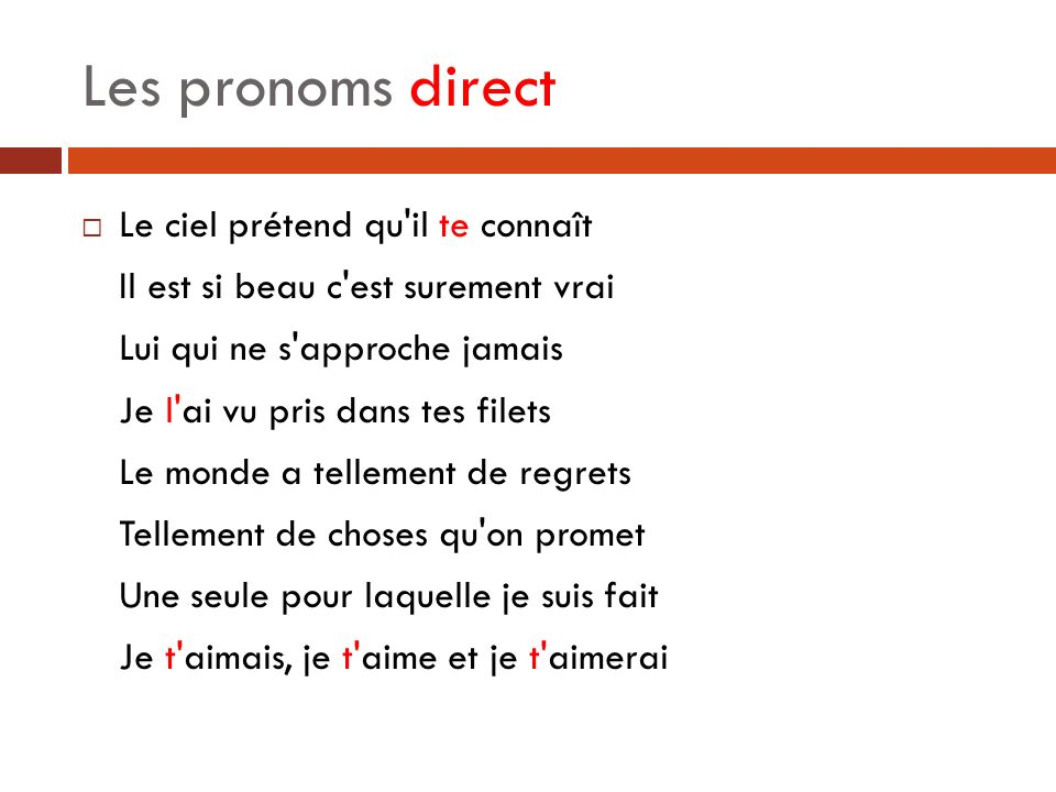 Les pronoms direct