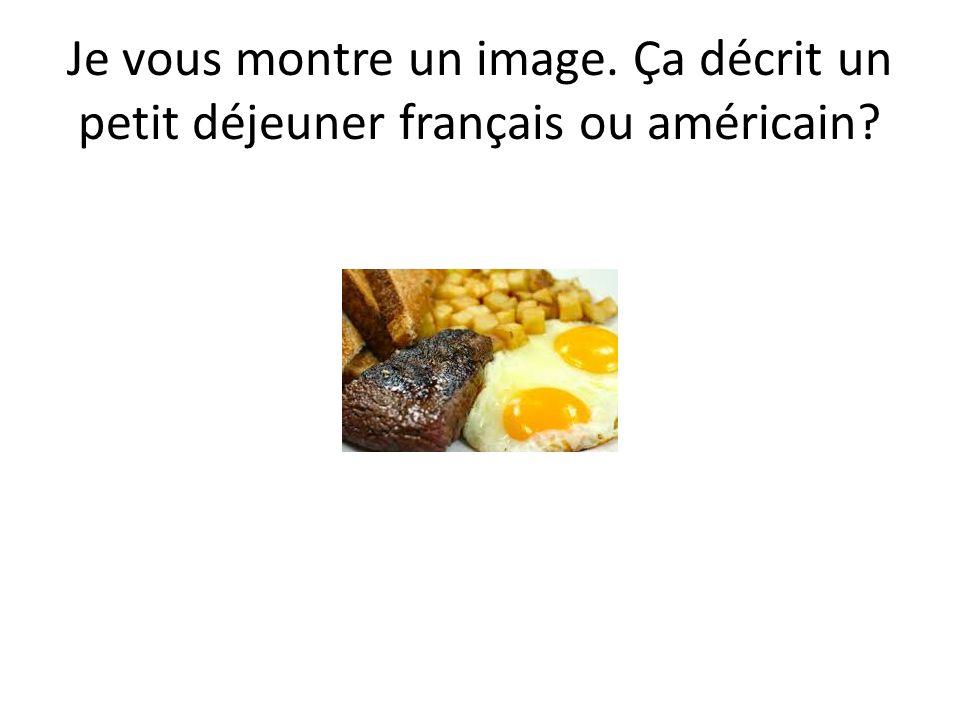 Je vous montre un image. Ça décrit un petit déjeuner français ou américain