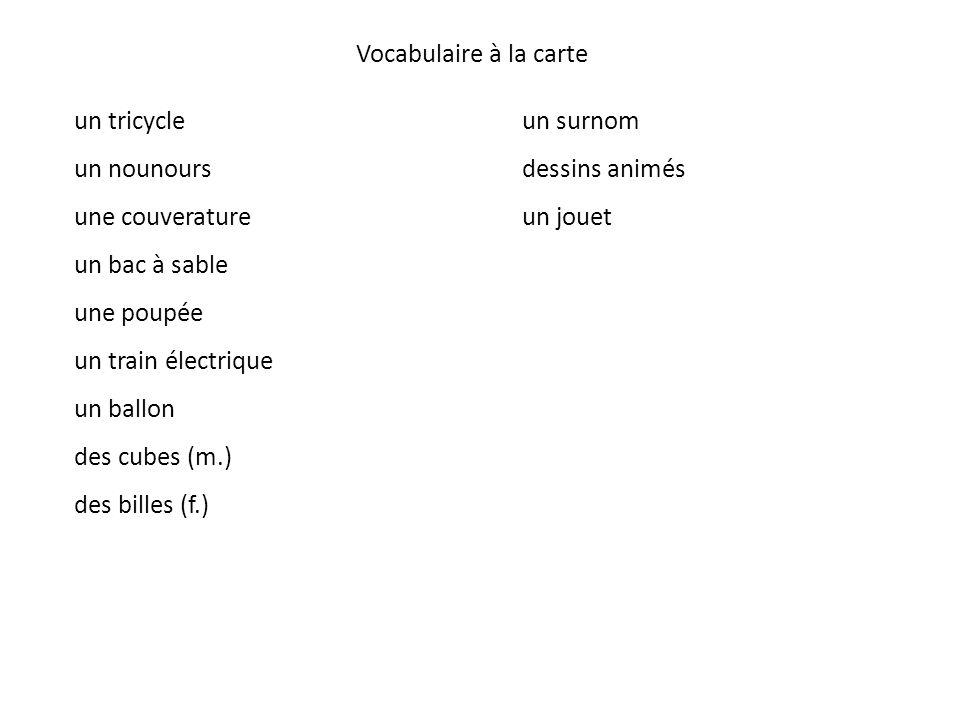 Vocabulaire à la carte un tricycle. un nounours. une couverature. un bac à sable. une poupée. un train électrique.