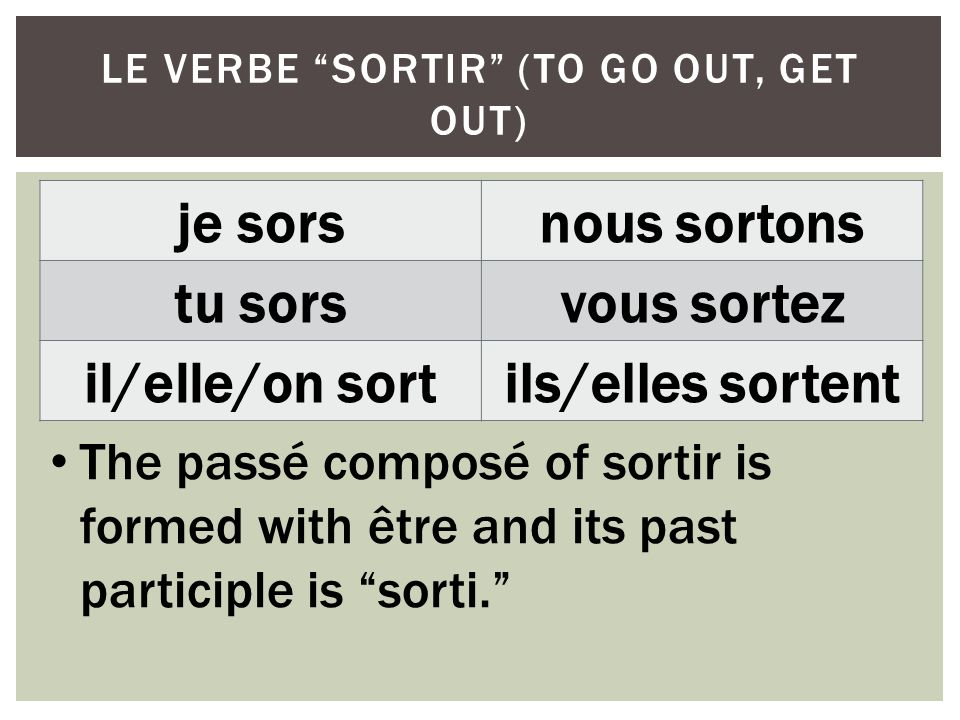 le verbe sortir (to go out, get out)