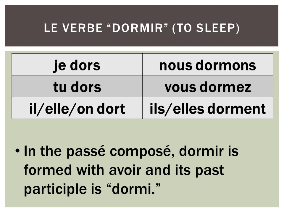 le verbe dormir (to sleep)