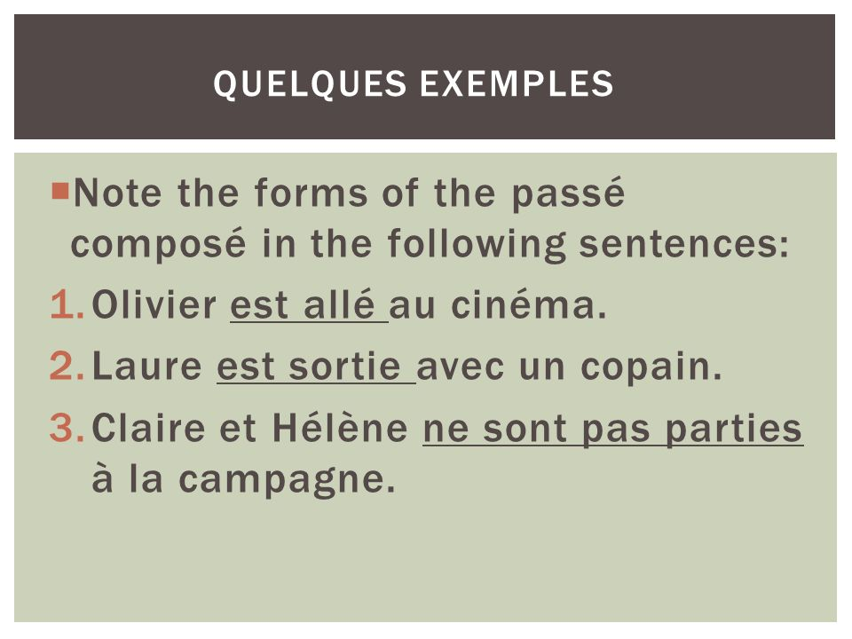 Note the forms of the passé composé in the following sentences: