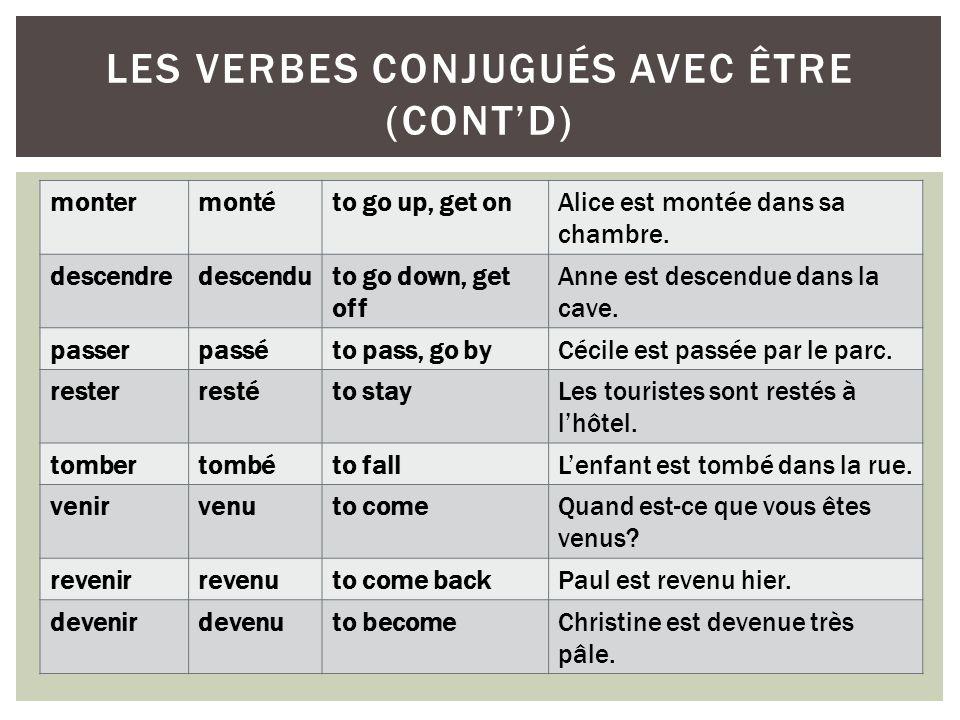 les verbes conjugués avec être (cont'd)