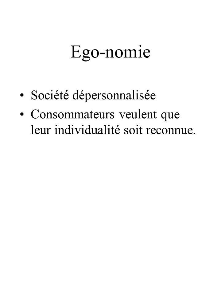 Ego-nomie Société dépersonnalisée