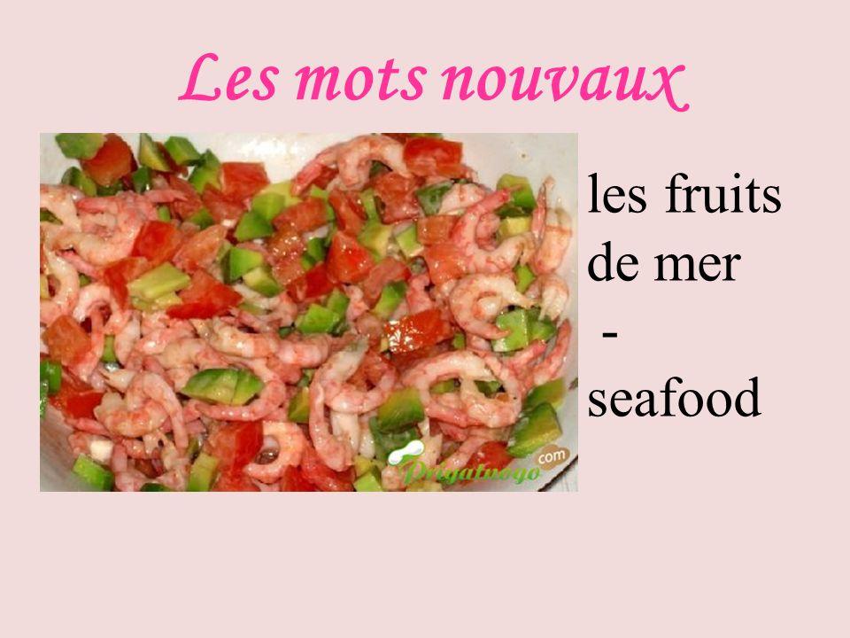 Les mots nouvaux les fruits de mer - seafood