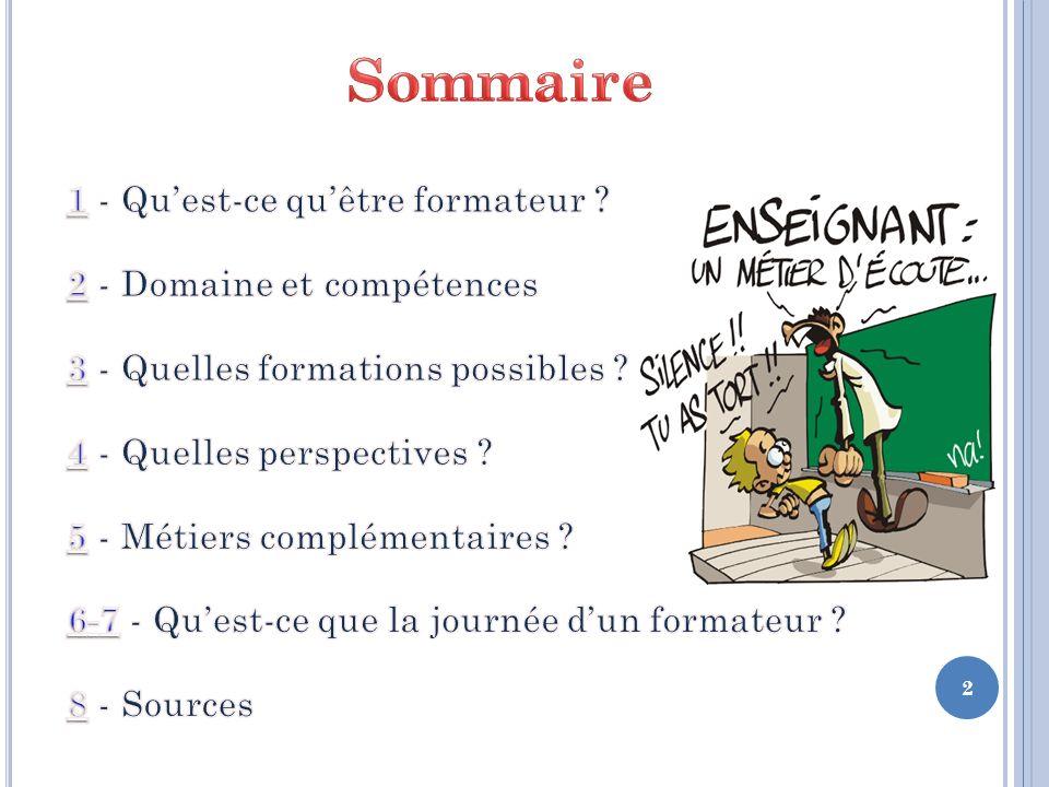 Sommaire 1 - Qu'est-ce qu'être formateur 2 - Domaine et compétences