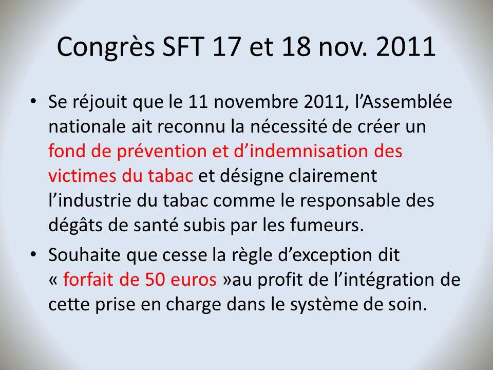 Congrès SFT 17 et 18 nov. 2011