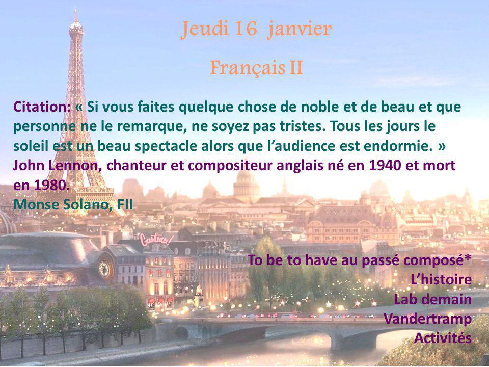 Jeudi 16 janvier Français II