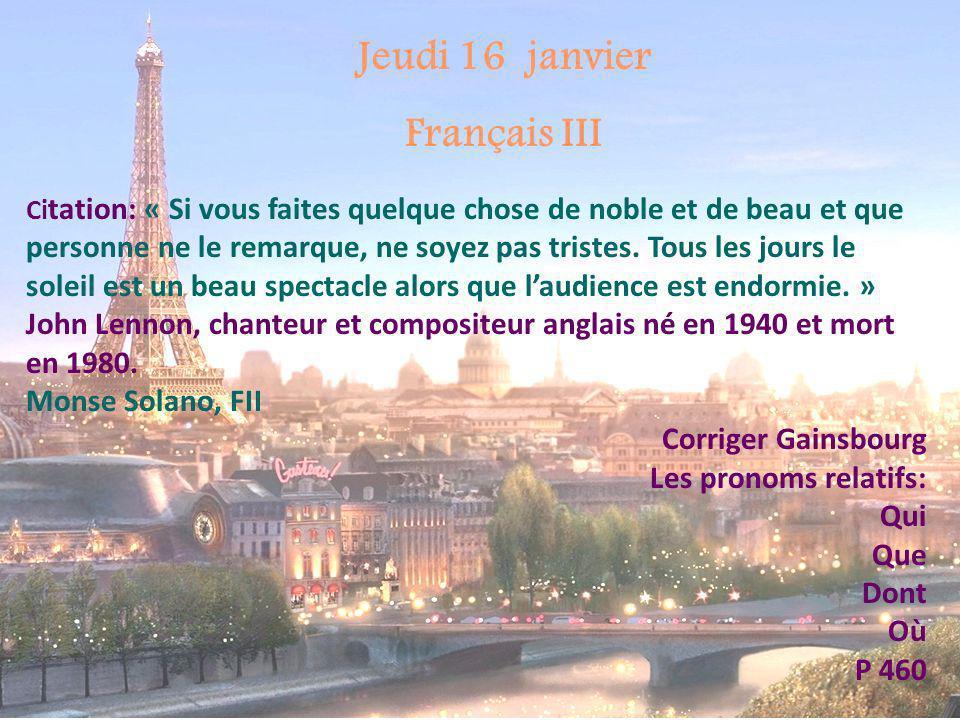 Jeudi 16 janvier Français III