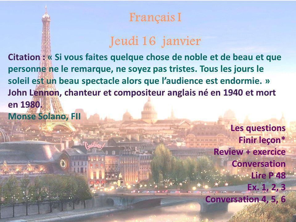 Français I Jeudi 16 janvier