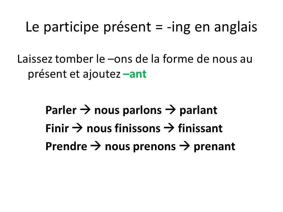 Le participe présent = -ing en anglais