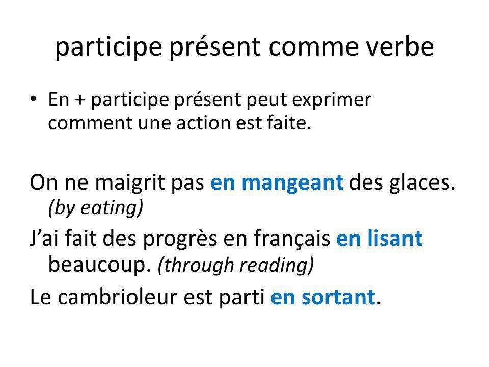 participe présent comme verbe