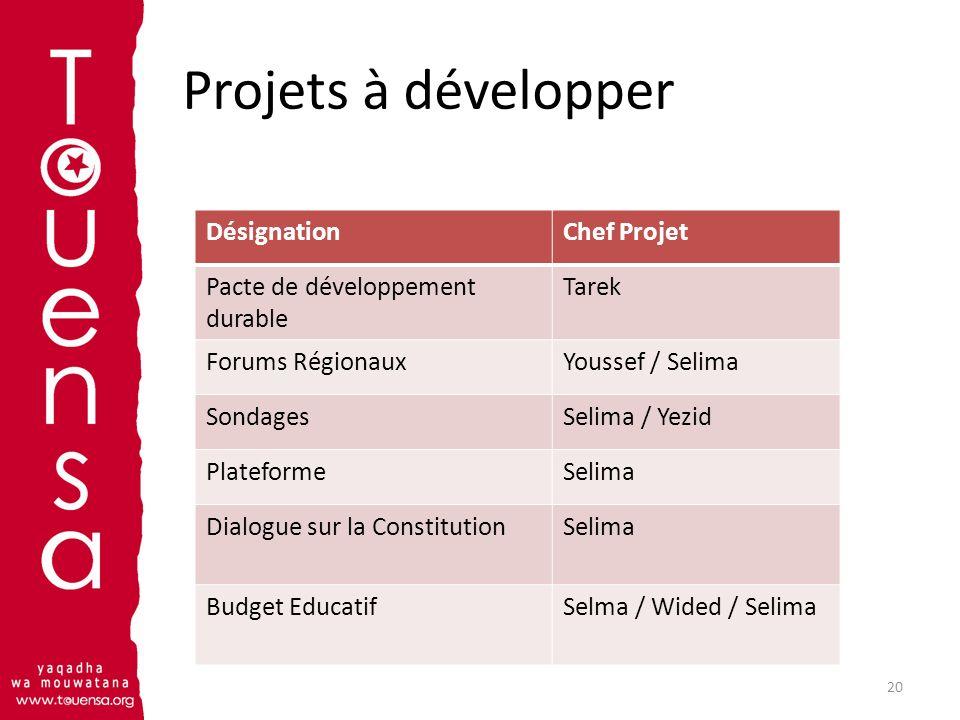 Projets à développer Désignation Chef Projet