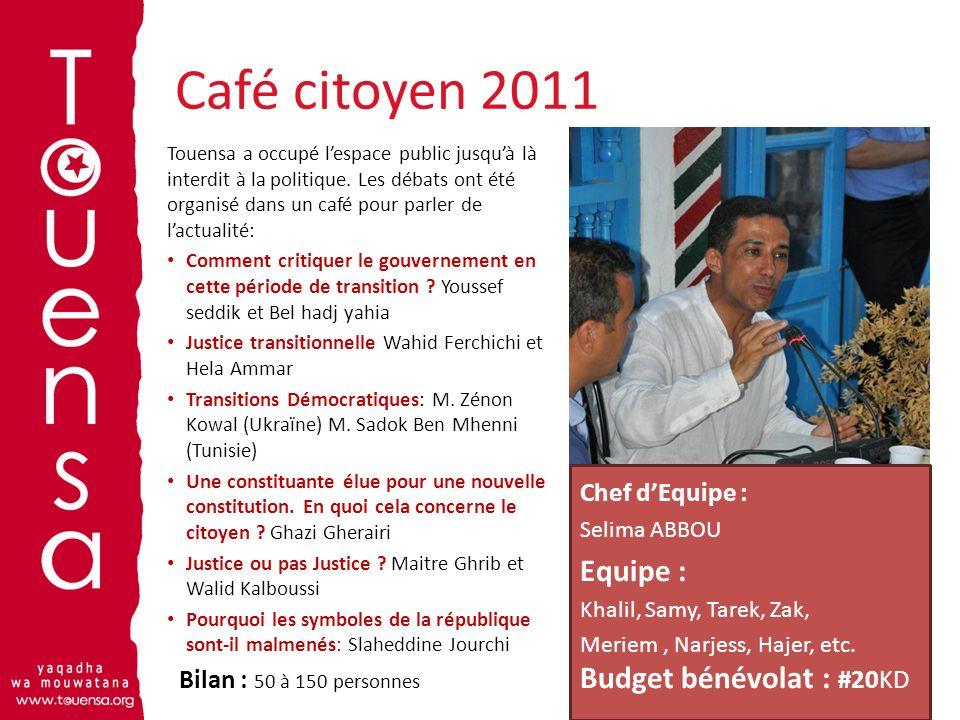 Café citoyen 2011 Equipe : Budget bénévolat : #20KD