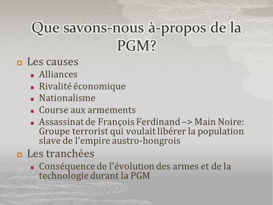 Que savons-nous à-propos de la PGM