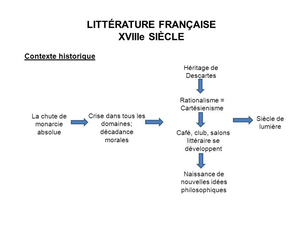 LITTÉRATURE FRANÇAISE XVIIIe SIÈCLE