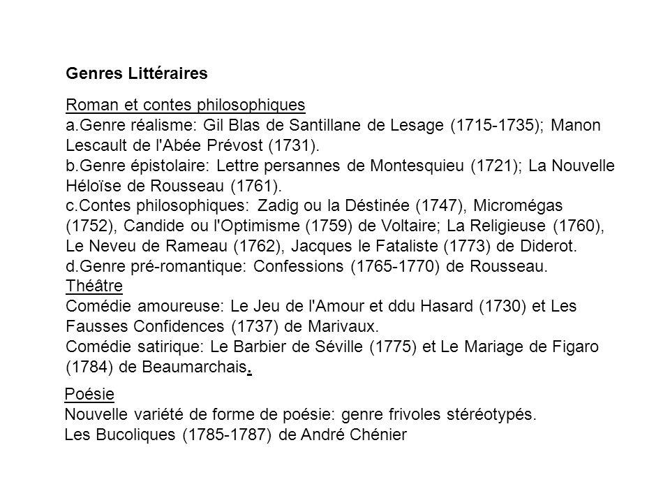 Genres Littéraires Roman et contes philosophiques.