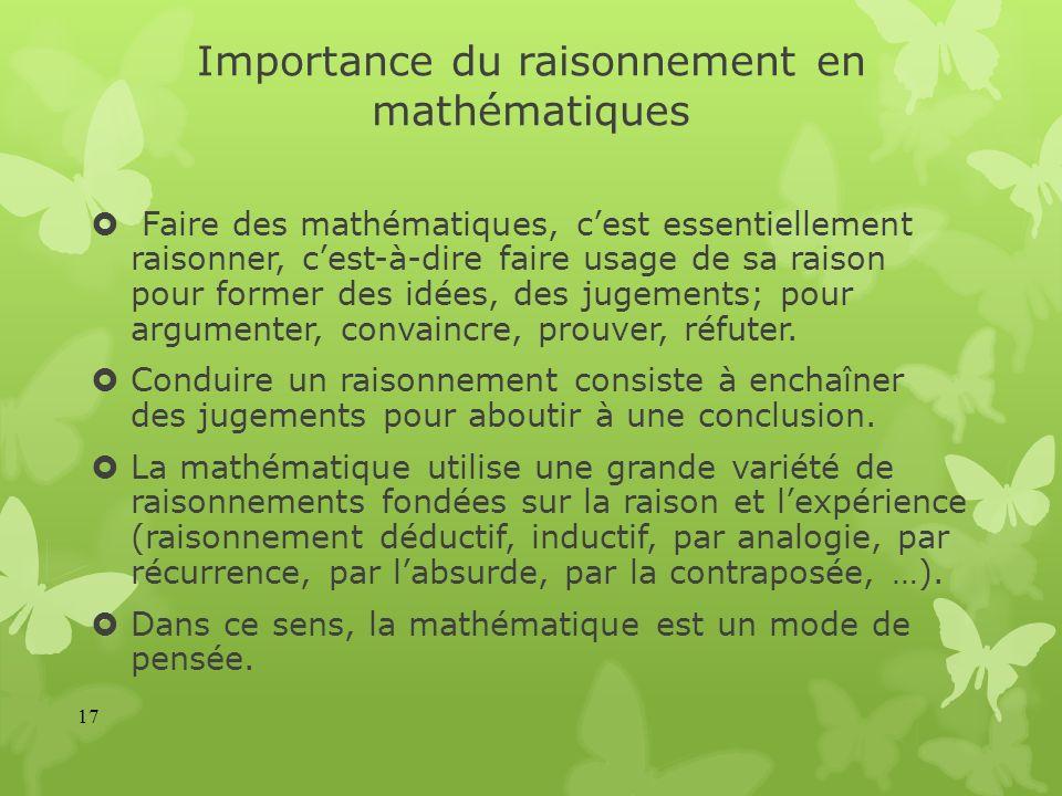 Importance du raisonnement en mathématiques