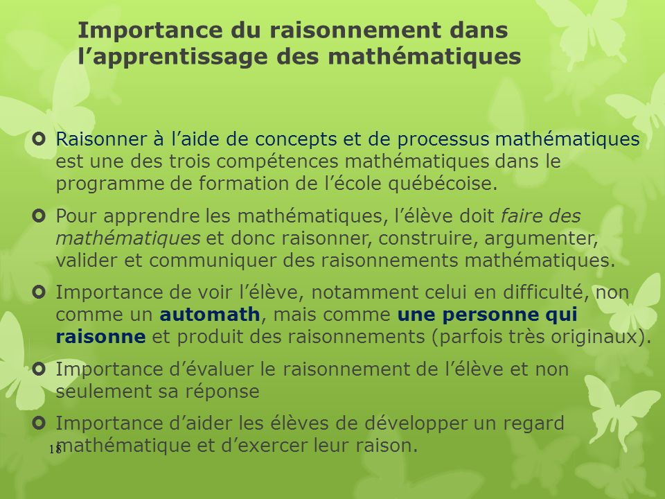 Importance du raisonnement dans l'apprentissage des mathématiques