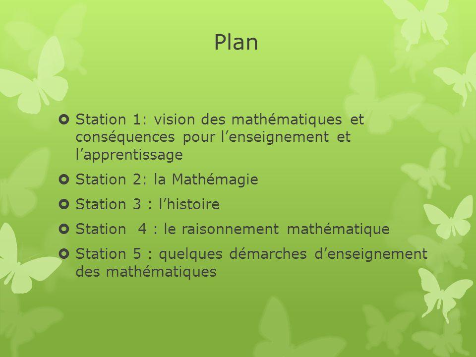 Plan Station 1: vision des mathématiques et conséquences pour l'enseignement et l'apprentissage. Station 2: la Mathémagie.