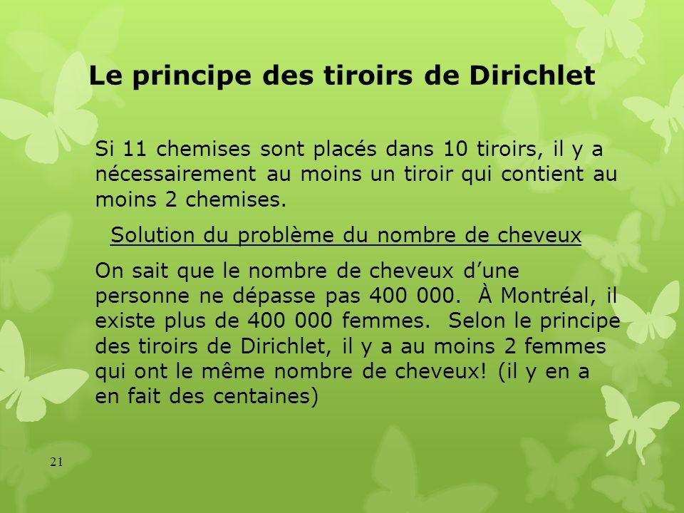 Le principe des tiroirs de Dirichlet